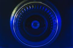 Kamera obiektyw z błękitnym kolorem fotografia stock
