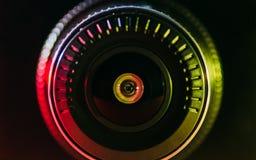 Kamera obiektyw z barwionym światłem Zdjęcia Royalty Free