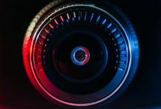 Kamera obiektyw z barwionym światłem, zamknięte fotografie Fotografia Stock
