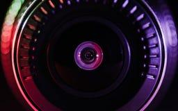 Kamera obiektyw z barwionym światłem, zamknięte fotografie Obraz Royalty Free