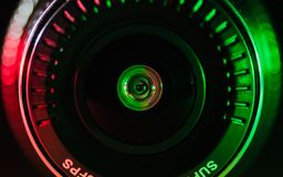 Kamera obiektyw z barwionym światłem, zamknięte fotografie fotografia royalty free