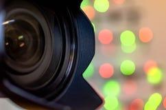 Kamera obiektyw z bokeh tłem Zdjęcia Stock