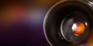 Kamera obiektyw z lense odbiciami, makro- strzał Fotografia Stock