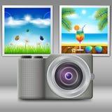 Kamera och bilder stock illustrationer