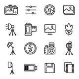 Kamera och fotografisymboler och kamera Arkivfoto