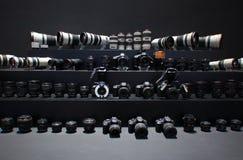 Kamera- och lensï¼ Canon fotografering för bildbyråer