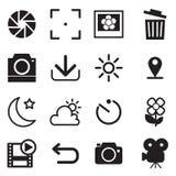 Kamera- och menysymboler Arkivbilder