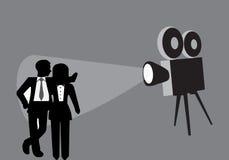 Kamera och modell Poses stock illustrationer