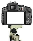 Kamera och tripod Fotografering för Bildbyråer