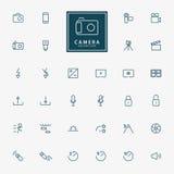 kamera 32 och videopp minsta översiktssymboler Royaltyfria Bilder