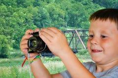 kamera odizolowywający mężczyzna biel potomstwa Fotografia Royalty Free