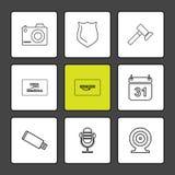 kamera, osłona, młot, kalendarz, Amazon karta, usb, microph royalty ilustracja