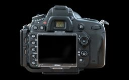 Kamera på svart bakgrundsbaksidaprofil Arkivbild