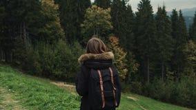 Kamera podąża młoda dziewczyna wycieczkowicza chodzi outdoors na tle lasu krajobraz zdjęcie wideo