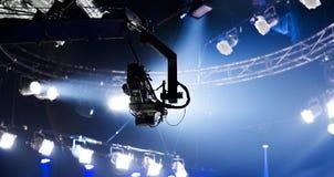 Kamera rejestr na żurawiu na scena przemysle rozrywkowym fotografia stock