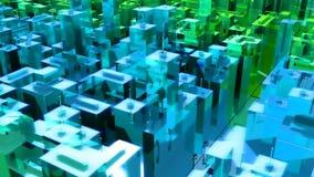 Kamera rusza się przez abstrakcjonistycznego surrealistycznego miasta Loopable royalty ilustracja