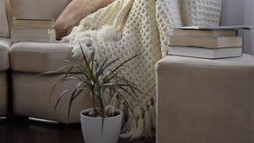 Kamera rusza się wzdłuż zapraszającej wygodnej kanapy z handmade woolen koc i rezerwuje zbiory wideo