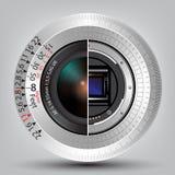Kamera-Sensor und -linse mit Skalahintergrund vektor abbildung
