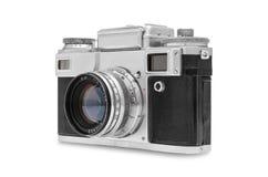 kamera som isoleras över rangefindertappningwhite Arkivfoto