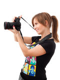 kamera som kontrollerar fotokvinnabarn Royaltyfria Bilder