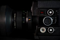 Kamera systemu stary styl, vintege technologia fotografia royalty free