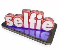 Kamera-Telefon-Selbstporträt-Social Media Selfie-Wort-3d lizenzfreie abbildung