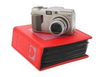 Kamera- und Fotoalbum stockbild