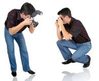 Kamera und Mann Stockfotos