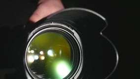 Kamera wideo obiektyw, pokazywać zoom i świecenie up, zwroty, zakończenie zbiory wideo