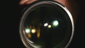 Kamera wideo obiektyw, pokazywać zoom i świecenie up, zwroty, zakończenie zdjęcie wideo