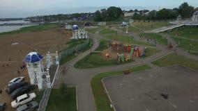Kamera Wiruje nad Jaskrawym mamusi boiskiem w ampuła parku zbiory