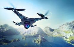 Kamerabrummen, das über See mit Bergen fliegt stock abbildung