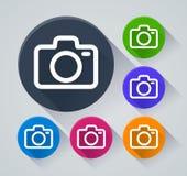 Kameracirkelsymboler med skugga Royaltyfri Foto