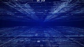 Kameraflyttningar till och med cyberspace för digital dator arkivfilmer
