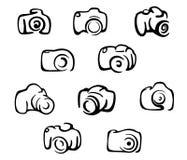 Kameraikonen und Symbolsatz Lizenzfreies Stockfoto