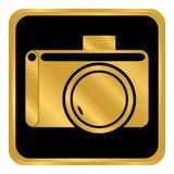 Kameraknapp på vit Arkivbilder