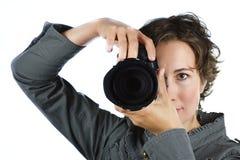 kamerakvinnabarn Arkivbild