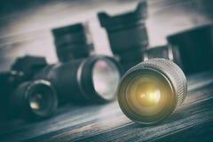 Kameralins med lensereflexioner royaltyfria foton