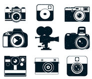 Kameralogosymboler Fotosymboler stock illustrationer
