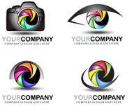 Kameralogoteckning Uppsättning för fotografilogodesign Royaltyfri Fotografi