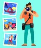 Kameraman och hans arbetsbilder av glade par royaltyfri illustrationer