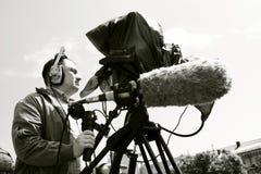 Kameraman som filmar platsen Royaltyfri Bild