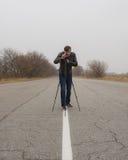 Kameraman som gör en film Royaltyfria Foton