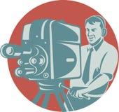 Kameramann-Schmierfilmbildung mit Weinlese-Fernsehkamera Stockbilder