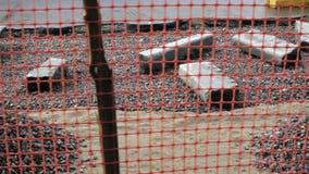 Kameran fortskrider en barriär av byggnadsplatsen av reparationen av vägen stock video