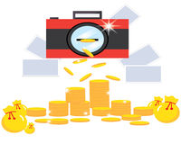 Kameran gör pengar Fotografering för Bildbyråer