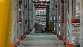 Kameran sträcker på halsen upp på hyllor av kartonger inom ett lagringslager lager videofilmer