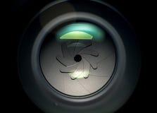 Kameraobjektivöffnung in der weichen Beleuchtung Stockbild