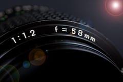 Kameraobjektiv 58mm 1.2 Lizenzfreie Stockfotos