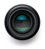 Kameraobjektiv auf Weiß Stockfotografie